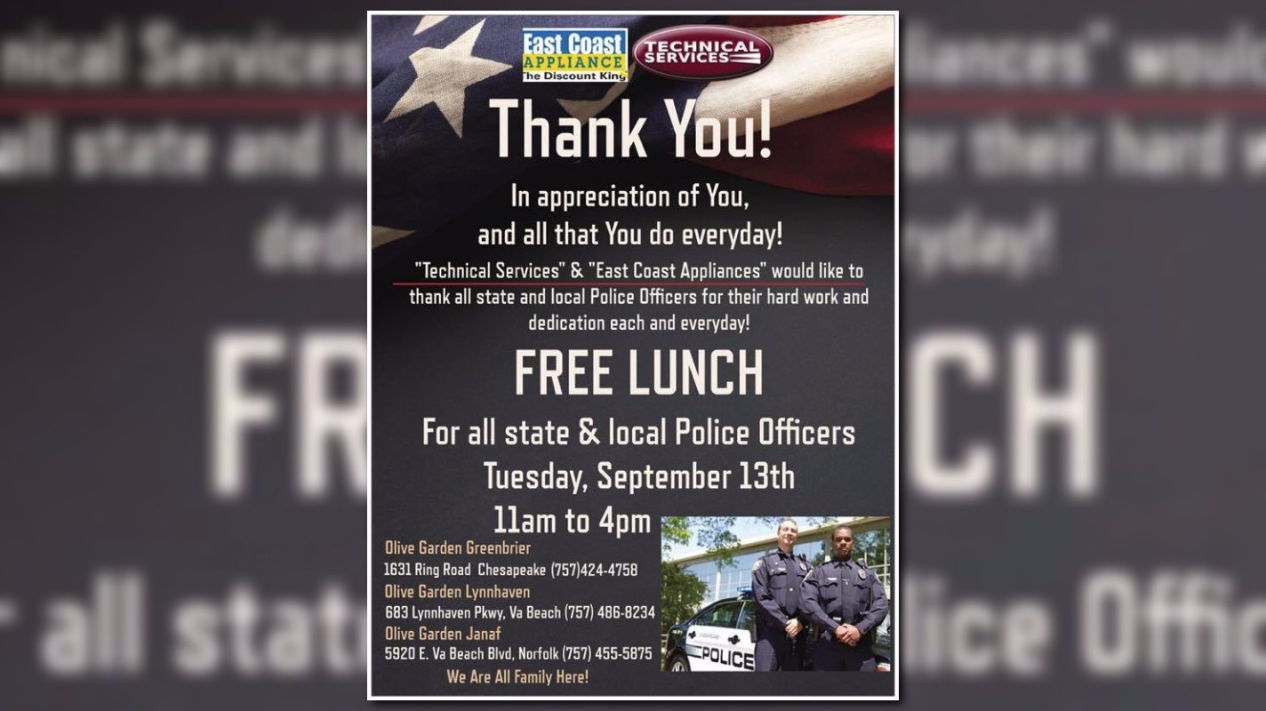Local And State Police Officers Offered Free Lunch At Olive Garden |  13NEWSNOW.com